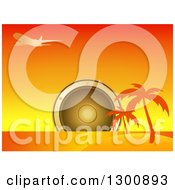 Clipart Of A Giant Music Speaker Over An Island With Silhouetted Palm Trees And Airplane At Sunset Royalty Free Vector Illustration by elaineitalia
