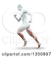 Clipart Of A 3d Anatomical Male Running With Visible Leg Muscles On White Royalty Free Illustration