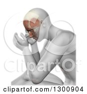 3d Xray Anatomical Man With Visible Facial Muscles And Head Pain Over White