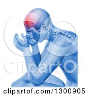 3d Xray Anatomical Man With Visible Spine And Head Pain Over White