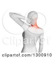 Clipart Of A 3d Anatomical Woman With Glowing Neck Pain Over White Royalty Free Illustration