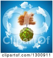 Clipart Of A 3d Autumn Walnut Tree On A Grassy Globe In A Circle Of Clouds Over Blue Royalty Free Illustration by KJ Pargeter