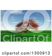 Clipart Of A 3d Large Autumn Maple Tree In A Flat Grassy Green Meadow Royalty Free Illustration by KJ Pargeter