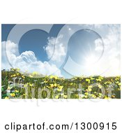 Clipart Of A 3d Hillside With Grass Buttercup And Daisy Flowers Against A Sky With A Shining Sun Royalty Free Illustration