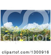 3d Hillside With Grass Buttercup And Daisy Flowers Against A Sky Clouds