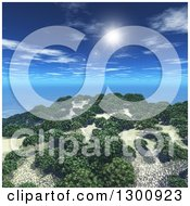 Clipart Of A 3d Island With Trees And The Sun With Flares In A Blue Sky Royalty Free Illustration