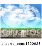 Clipart Of A 3d Wood Table Or Deck Against Grass Blue Sky Clouds And Sunshine Royalty Free Illustration