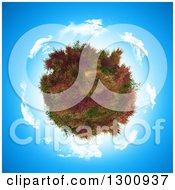 Clipart Of A 3d Tree Covered In Ferns And Heather Within A Circle Of Clouds On Blue Sky Royalty Free Illustration