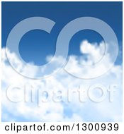Clipart Of A Blurred Blue Sky And Puffy White Clouds Background Royalty Free Vector Illustration