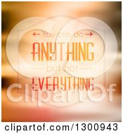 Clipart Of You Can Do Anything But Not Everything Inspirational Quote Text On Orange Rays And Blur Royalty Free Vector Illustration by KJ Pargeter