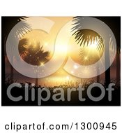 Clipart Of A Background Of Silhouetted Palm Trees And Foliage Against An Orange Summer Sunset And Flares Royalty Free Vector Illustration
