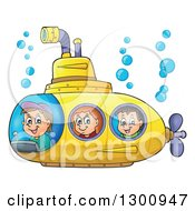 Clipart Of Happy Cartoon White Children In A Yellow Submarine Royalty Free Vector Illustration