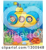 Happy Cartoon White Children In A Yellow Submarine Over A Colorful Reef