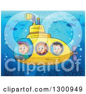 Clipart Of Happy Cartoon White Children In A Yellow Submarine At A Reef Royalty Free Vector Illustration