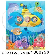 Happy Cartoon White Children In A Yellow Submarine With Sea Creatures At A Colorful Reef