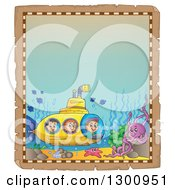 Clipart Of A Vintage Parchment Frame With Happy Cartoon White Children In A Yellow Submarine And Sea Creatures Royalty Free Vector Illustration by visekart
