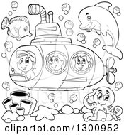 Clipart Of Happy Black And White Cartoon Children In A Submarine With Sea Creatures Royalty Free Vector Illustration