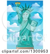 Clipart Of A Carton Happy Statue Of Liberty Holding Up A Torch Against Blue Sky With Birds And Puffy Clouds Royalty Free Vector Illustration