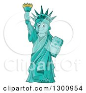 Clipart Of A Carton Happy Statue Of Liberty Holding Up A Torch Royalty Free Vector Illustration