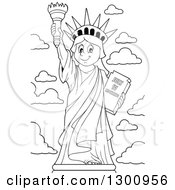 Lineart Clipart Of A Carton Black And White Happy Statue Of Liberty Holding Up A Torch Royalty Free Outline Vector Illustration by visekart