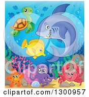 Clipart Of A Cartoon Grinning Purple Shark Swimming At A Reef With An Octopus Crab Sea Turtle And Fish Royalty Free Vector Illustration by visekart