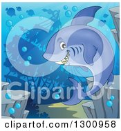 Clipart Of A Cartoon Grinning Purple Shark Swimming Against A Silhouetted Sunken Ship Royalty Free Vector Illustration by visekart