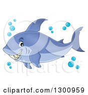 Clipart Of A Cartoon Grinning Purple Shark Blue Bubbles Royalty Free Vector Illustration by visekart