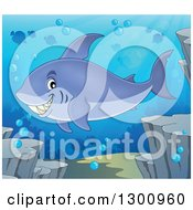 Clipart Of A Cartoon Grinning Purple Shark Swimming Against A Silhouetted Reef And Fish Royalty Free Vector Illustration by visekart
