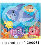Clipart Of A Cartoon Grinning Purple Shark Swimming At A Reef With An Octopus Crab And Fish Royalty Free Vector Illustration by visekart