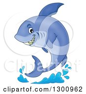 Clipart Of A Cartoon Grinning Purple Shark And A Splash Royalty Free Vector Illustration