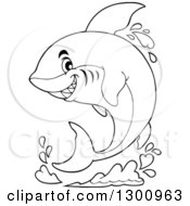 Lineart Clipart Of A Black And White Cartoon Shark Jumping With A Splash Royalty Free Outline Vector Illustration by visekart