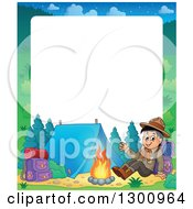 Cartoon Border Of A Happy Scout Boy Sitting With A Backpack And Waving By A Camp Fire