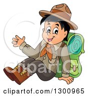 Clipart Of A Cartoon Happy Scout Boy Sitting With A Backpack And Waving Royalty Free Vector Illustration