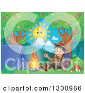 Clipart Of A Cartoon Happy Scout Boy Sitting With A Backpack And Waving By A Camp Fire Royalty Free Vector Illustration by visekart