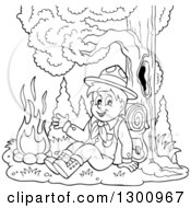 Clipart Of A Cartoon Black And White Scout Boy Sitting Against A Tree And Waving By A Campfire Royalty Free Vector Illustration