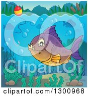 Clipart Of A Purple And Orange Carnivorous Piranha Fish Underwater With A Fishing Hook And Visible Surface Royalty Free Vector Illustration
