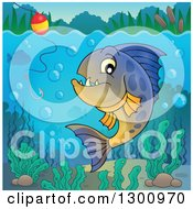Clipart Of A Carnivorous Piranha Fish Underwater With A Fishing Hook And Visible Surface Royalty Free Vector Illustration by visekart