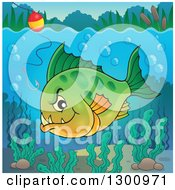 Clipart Of A Green Carnivorous Piranha Fish Underwater With A Fishing Hook And Visible Surface Royalty Free Vector Illustration