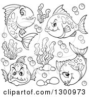 Outline Clipart Of Black And White Carnivorous Piranha Fish With Bubbles And Aquatic Plants Royalty Free Lineart Vector Illustration
