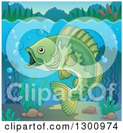 Clipart Of A Green Freshwater Fish In A River With Visible Surface Royalty Free Vector Illustration