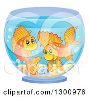 Clipart Of Two Happy Fancy Goldfish In A Bowl Royalty Free Vector Illustration