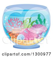 Clipart Of A Fish Bowl With Anemones And Corals Royalty Free Vector Illustration