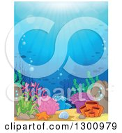 Clipart Of A Background Of An Ocean Reef With Sun Rays Shining Down On Corals And Silhouetted Fish Royalty Free Vector Illustration