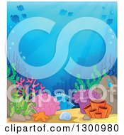 Clipart Of A Background Of An Ocean Reef With Sun Rays Shining Down On Colorful Corals And Silhouetted Fish Royalty Free Vector Illustration by visekart