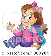 Clipart Of A Cartoon Brunette White School Girl Sitting And Waving Royalty Free Vector Illustration