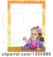 Clipart Of A Frame Of A Cartoon Brunette White School Girl Sitting And Waving Royalty Free Vector Illustration