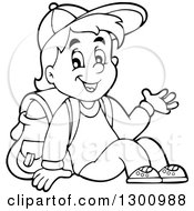 Clipart Of A Cartoon Black And White School Boy Sitting And Waving Royalty Free Vector Illustration