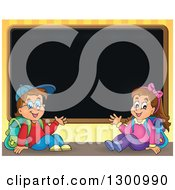 Clipart Of A Cartoon White School Boy And Girl Sitting And Waving By A Black Board Royalty Free Vector Illustration