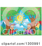 Clipart Of A Cartoon White School Boy And Girl Sitting And Waving By Trees And A Smiling Sun Royalty Free Vector Illustration