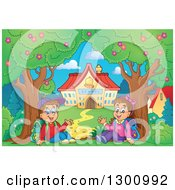 Clipart Of A Cartoon White School Boy And Girl Sitting And Waving By Trees And A Building Royalty Free Vector Illustration by visekart